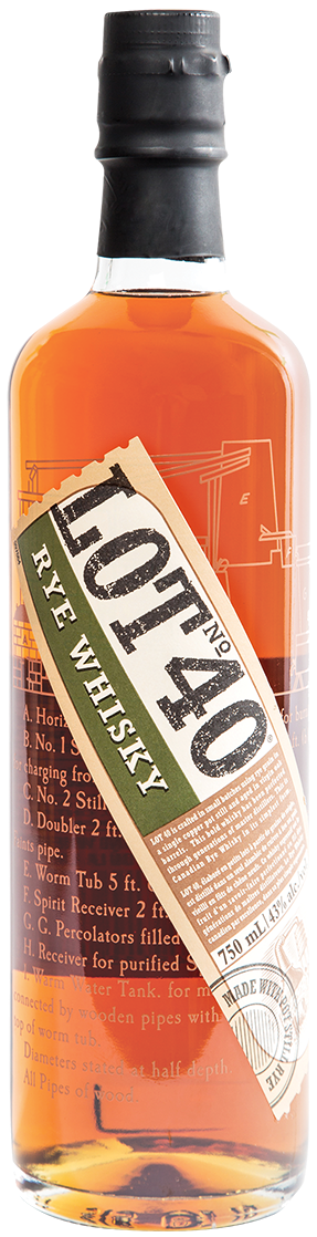Bottle of LOT40 Rye Whisky